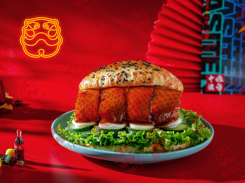 香辣鸡腿中国汉堡